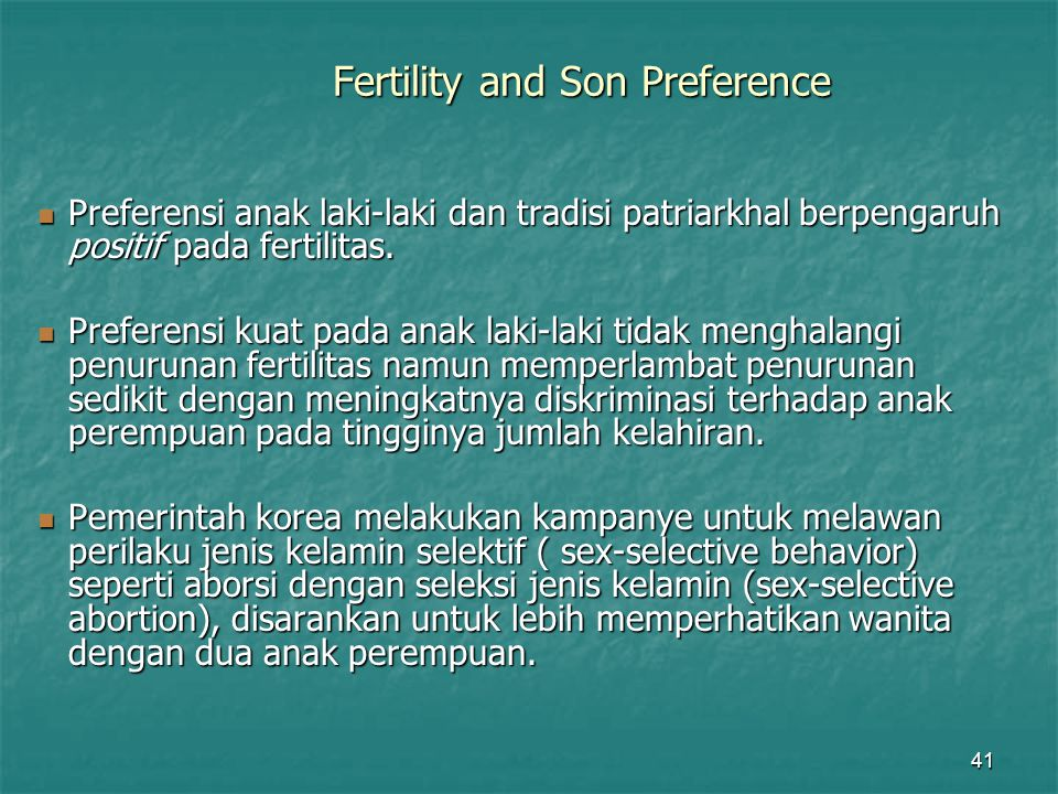 Fertility and Son Preference