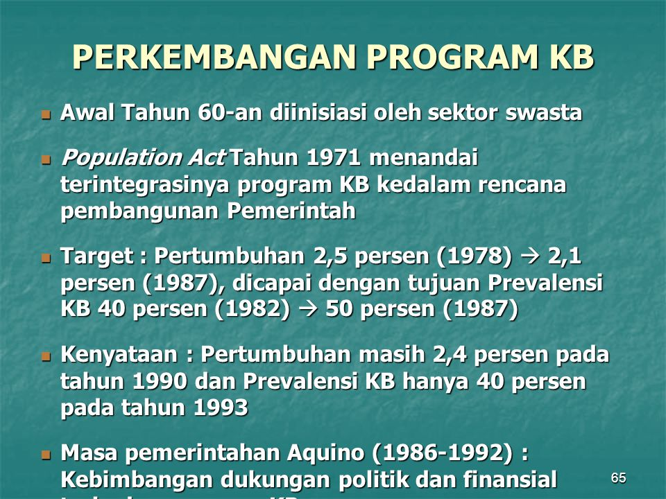 PERKEMBANGAN PROGRAM KB