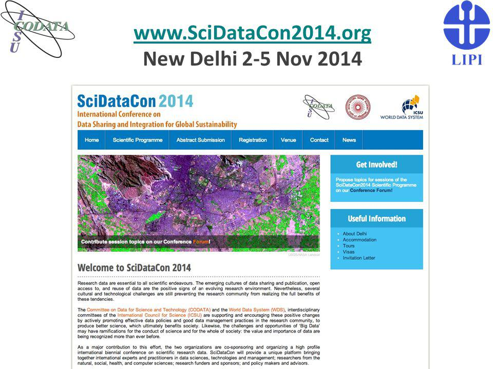 www.SciDataCon2014.org New Delhi 2-5 Nov 2014
