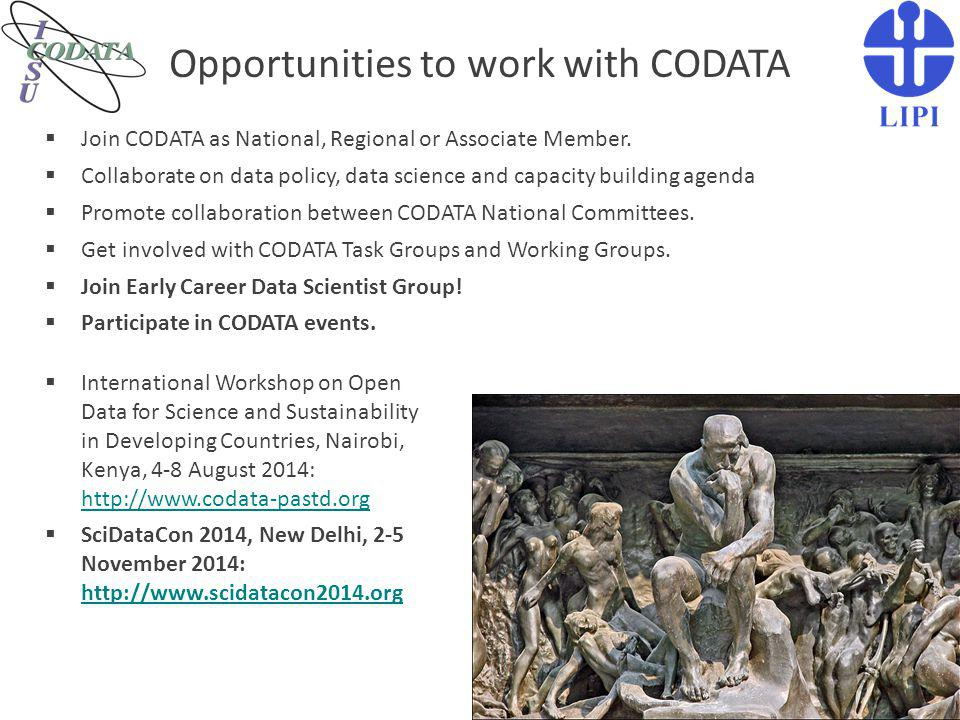 Opportunities to work with CODATA
