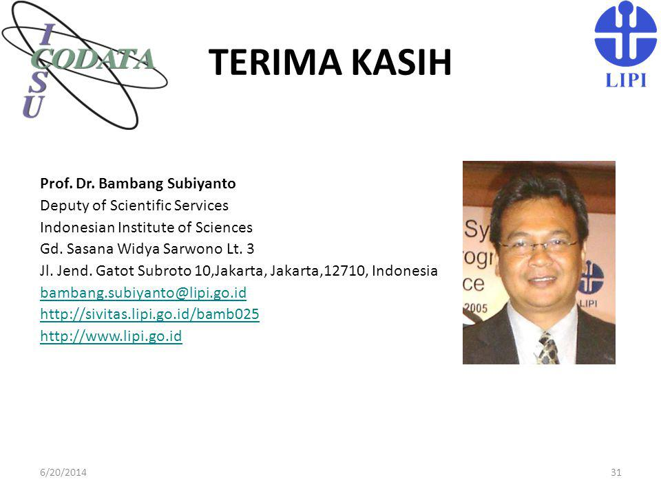 TERIMA KASIH Prof. Dr. Bambang Subiyanto Deputy of Scientific Services
