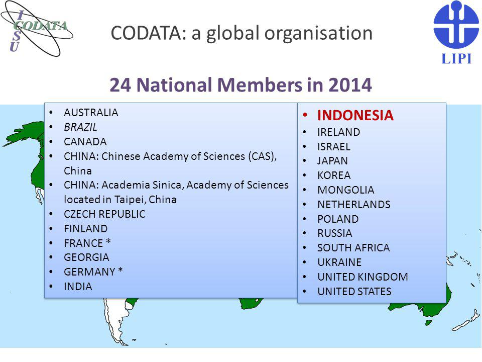 CODATA: a global organisation