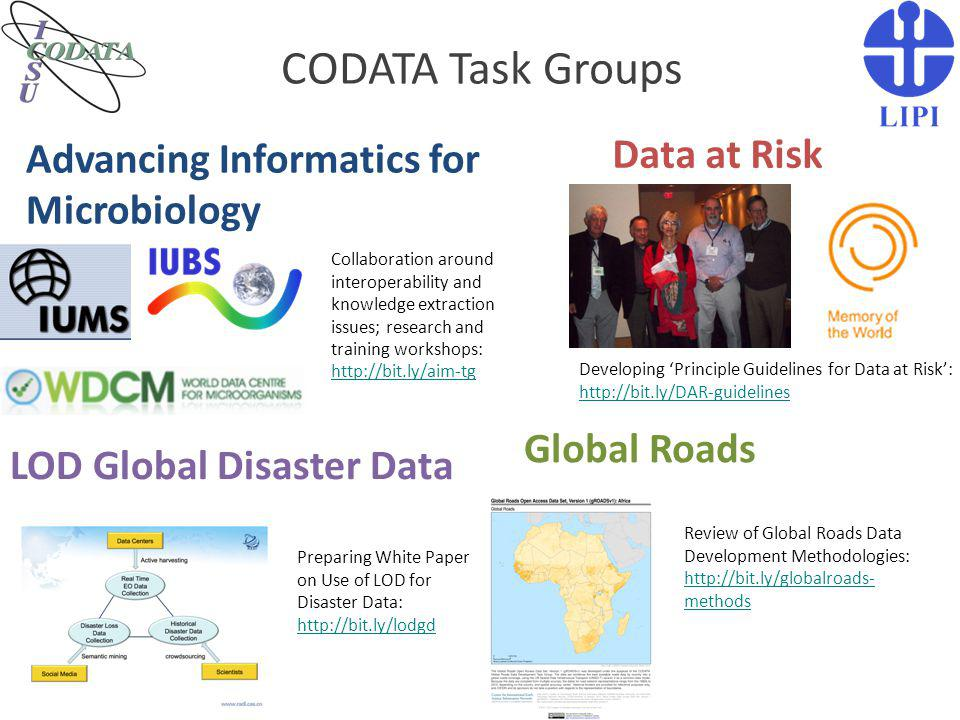 CODATA Task Groups Data at Risk Advancing Informatics for Microbiology