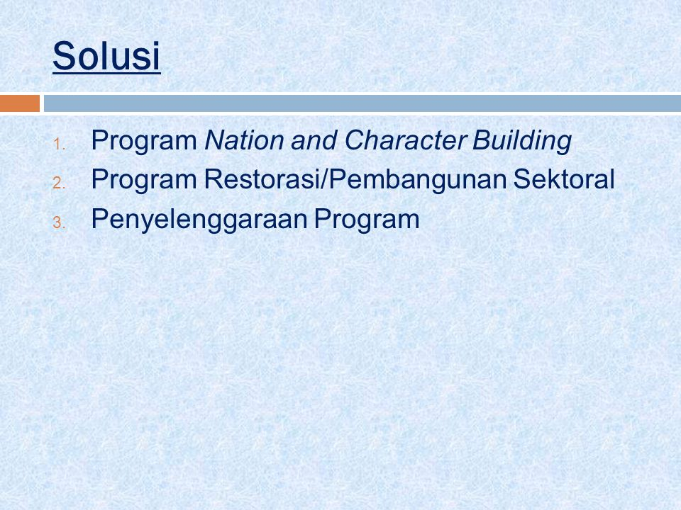 Solusi Program Nation and Character Building