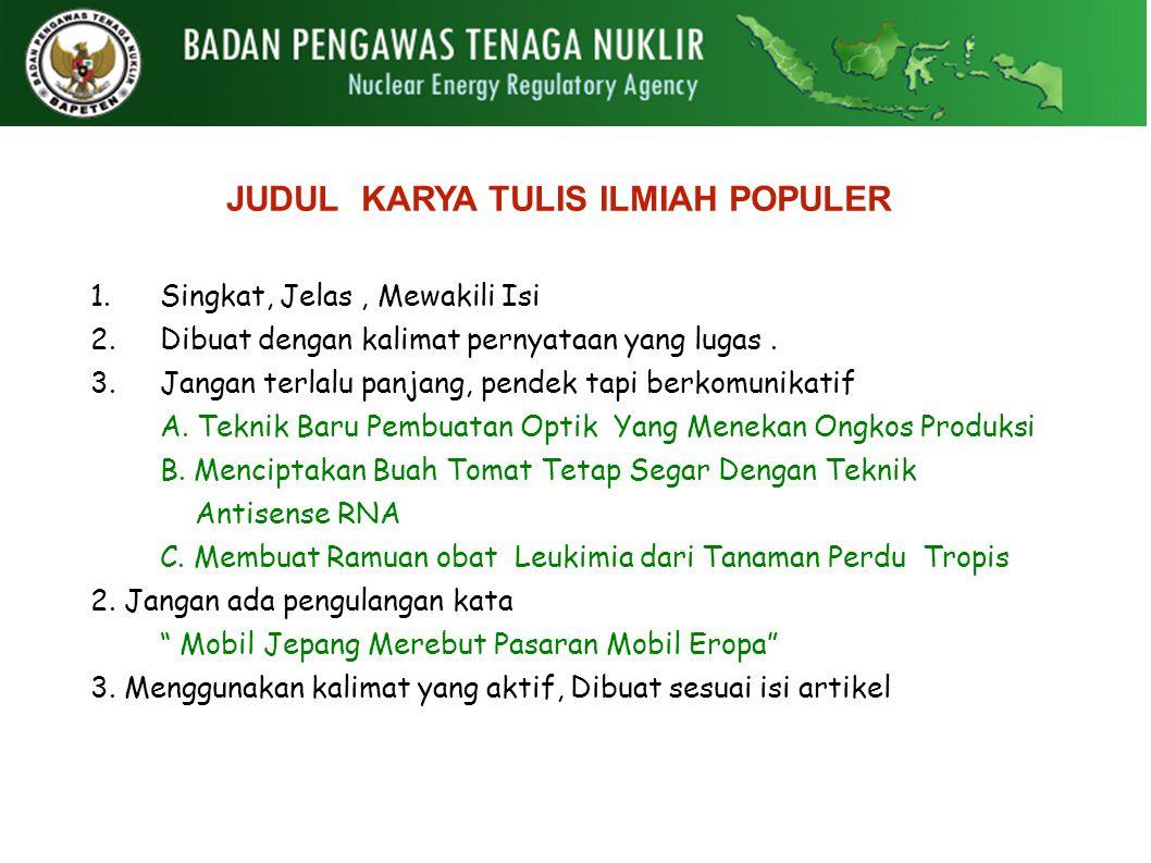 Karya Tulis Ilmiah Populer Ppt Download