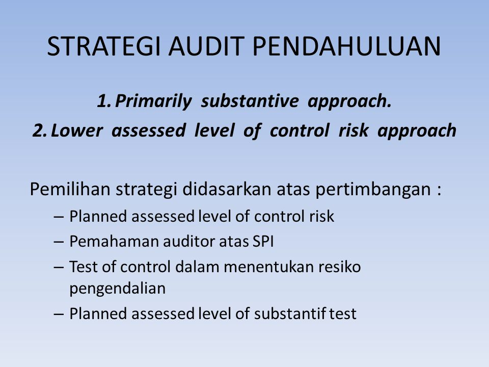 STRATEGI AUDIT PENDAHULUAN