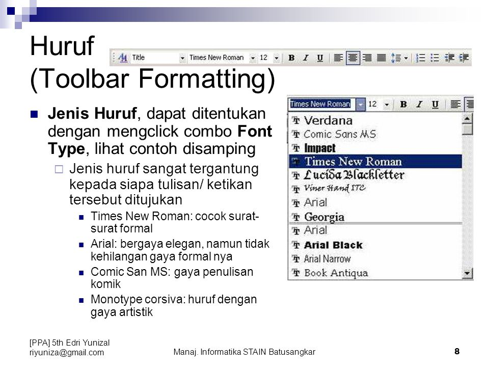 Huruf (Toolbar Formatting)
