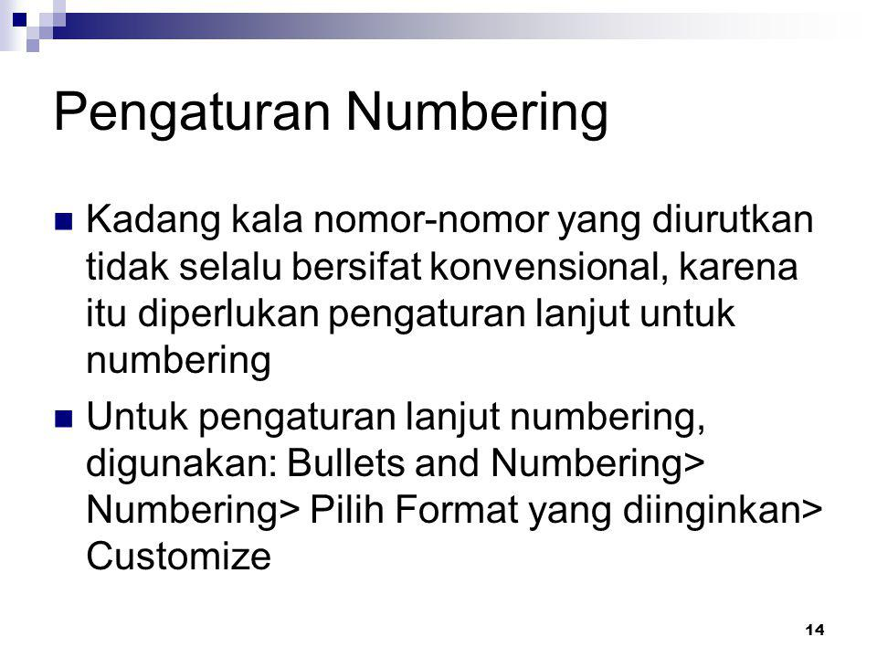 Pengaturan Numbering