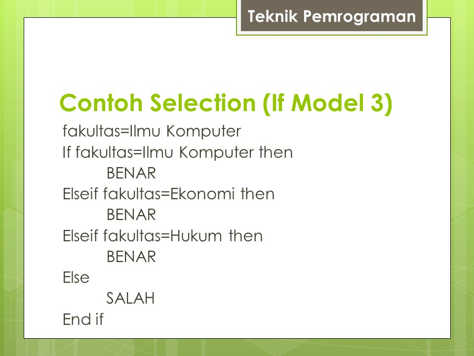 Contoh Selection (If Model 3)