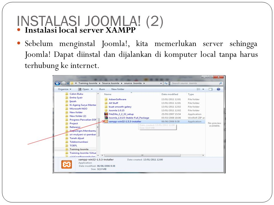 INSTALASI JOOMLA! (2) Instalasi local server XAMPP