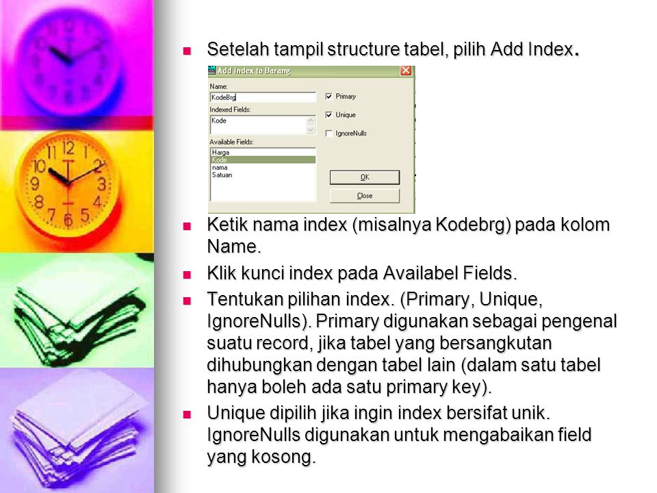 Setelah tampil structure tabel, pilih Add Index.