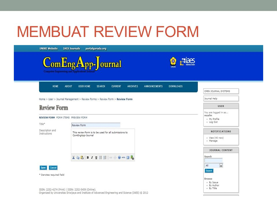 MEMBUAT REVIEW FORM