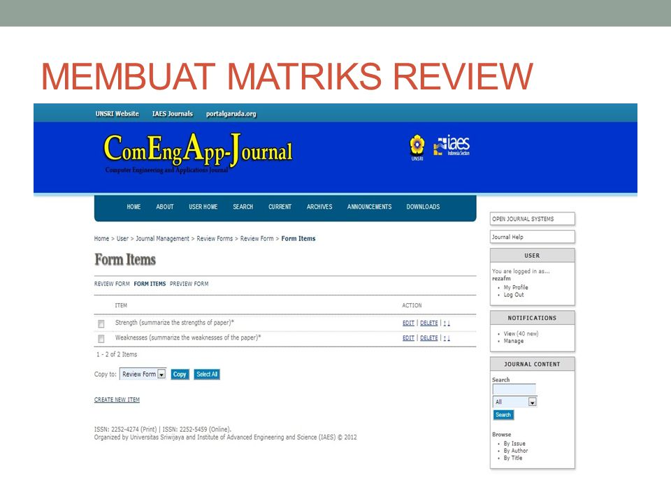 MEMBUAT MATRIKS REVIEW
