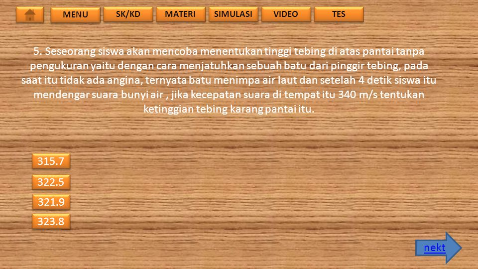 MENU SK/KD. MATERI. SIMULASI. VIDEO. TES.