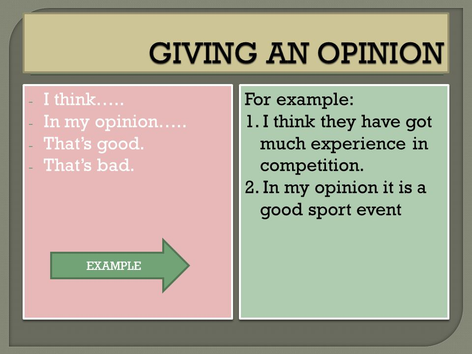 GIVING AN OPINION I think….. In my opinion….. That's good. That's bad.