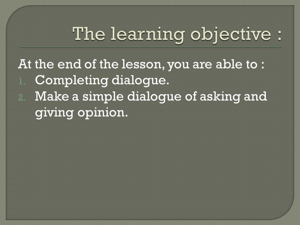 The learning objective :