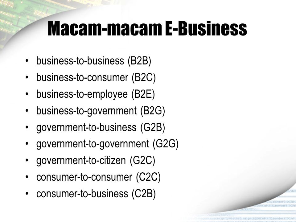 Macam-macam E-Business