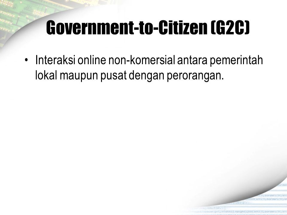 Government-to-Citizen (G2C)