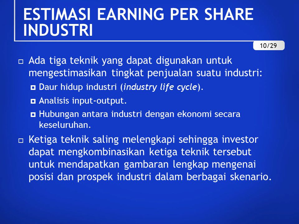 ESTIMASI EARNING PER SHARE INDUSTRI