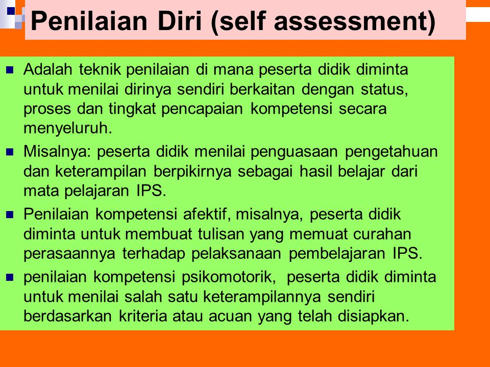 Penilaian Diri (self assessment)