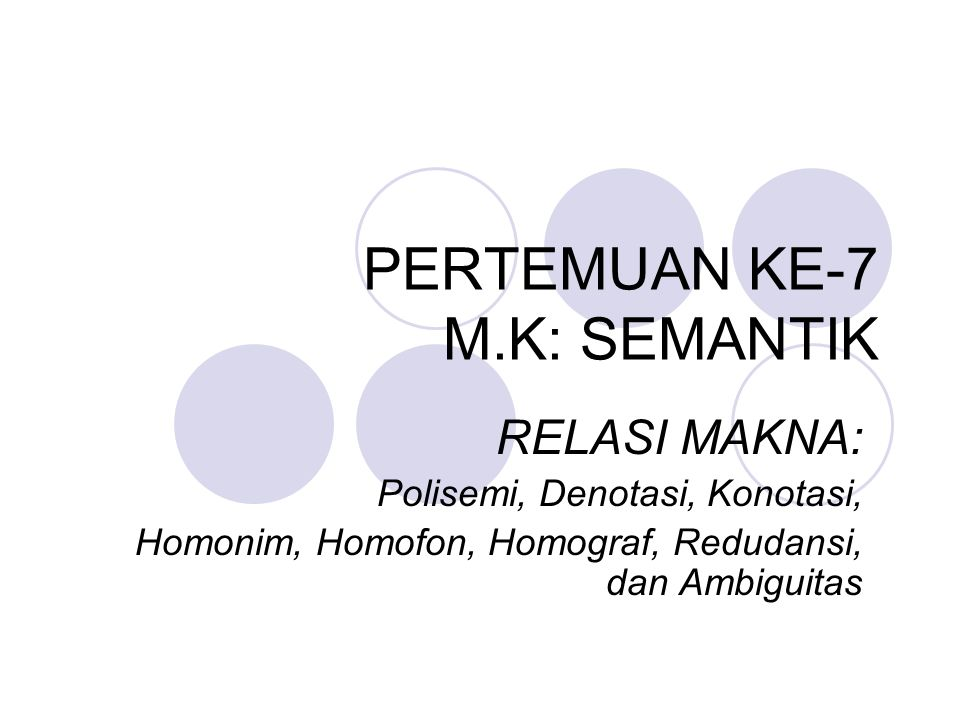 Pertemuan Ke 7 M K Semantik Ppt Download
