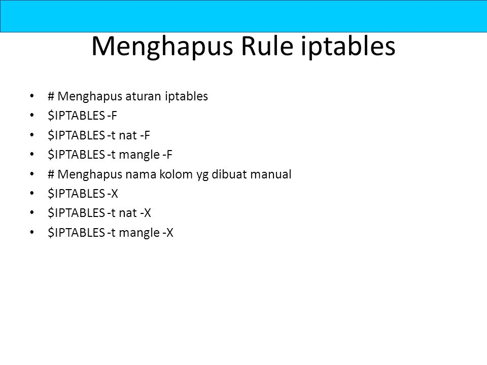 Menghapus Rule iptables
