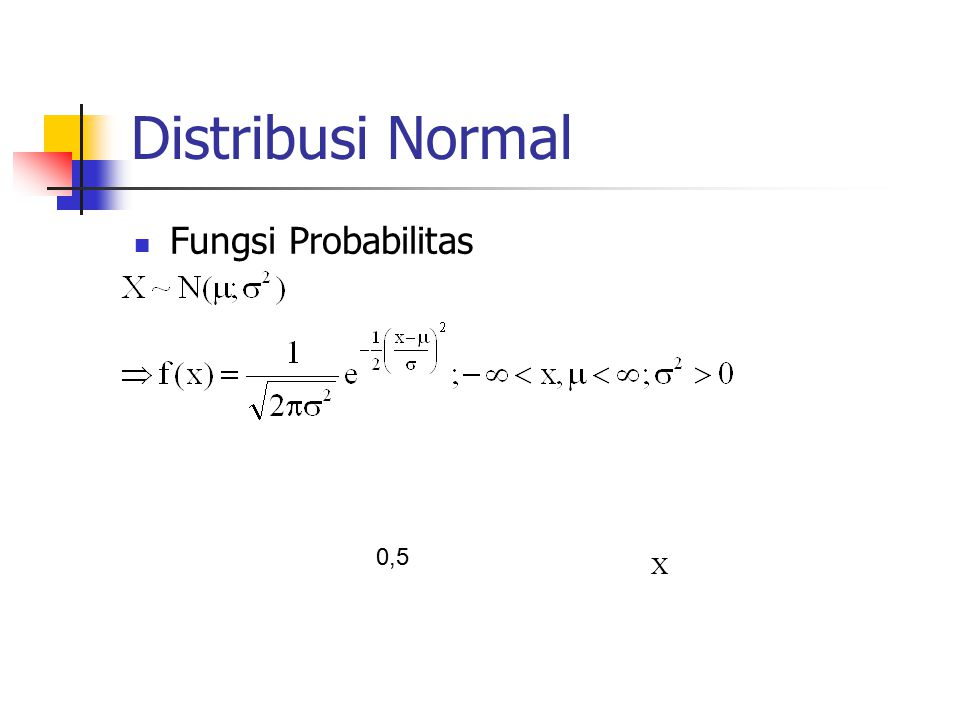 Distribusi Normal Fungsi Probabilitas 0,5 X