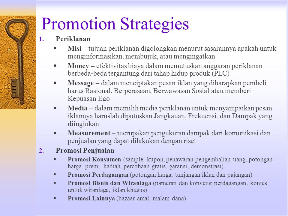 Promotion Strategies Periklanan