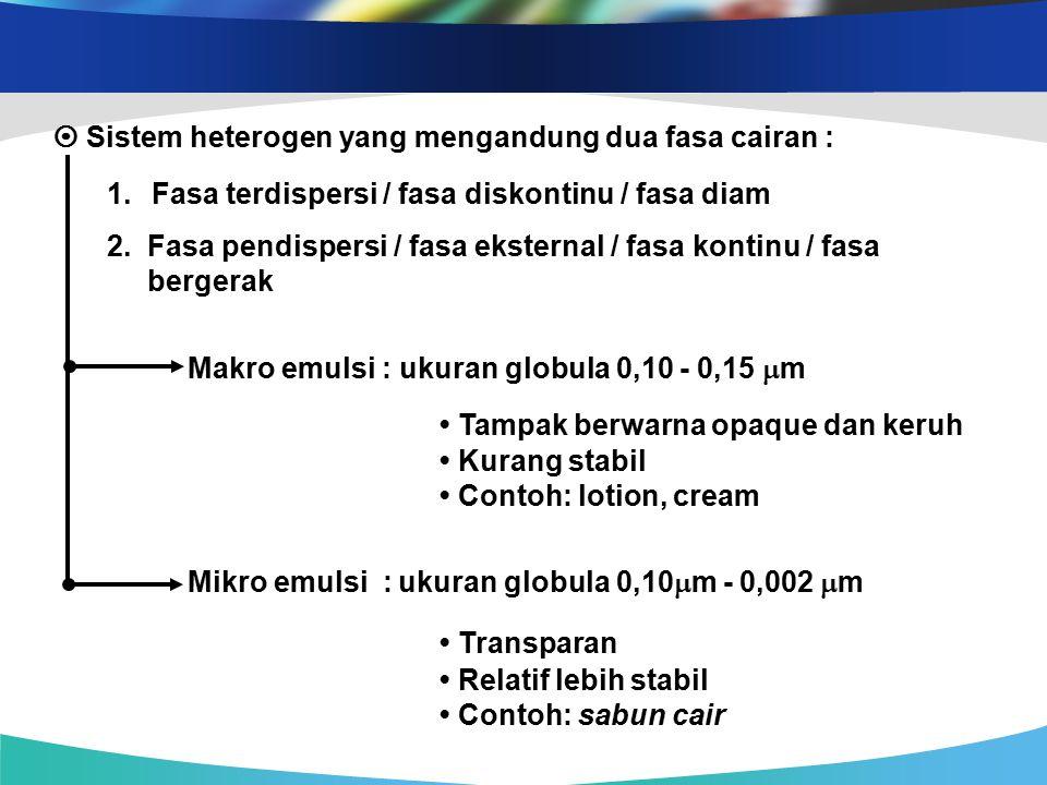 Emulsi Teknologi Minyak Emulsi Dan Oleokimia Minggu 9 Oleh Ppt
