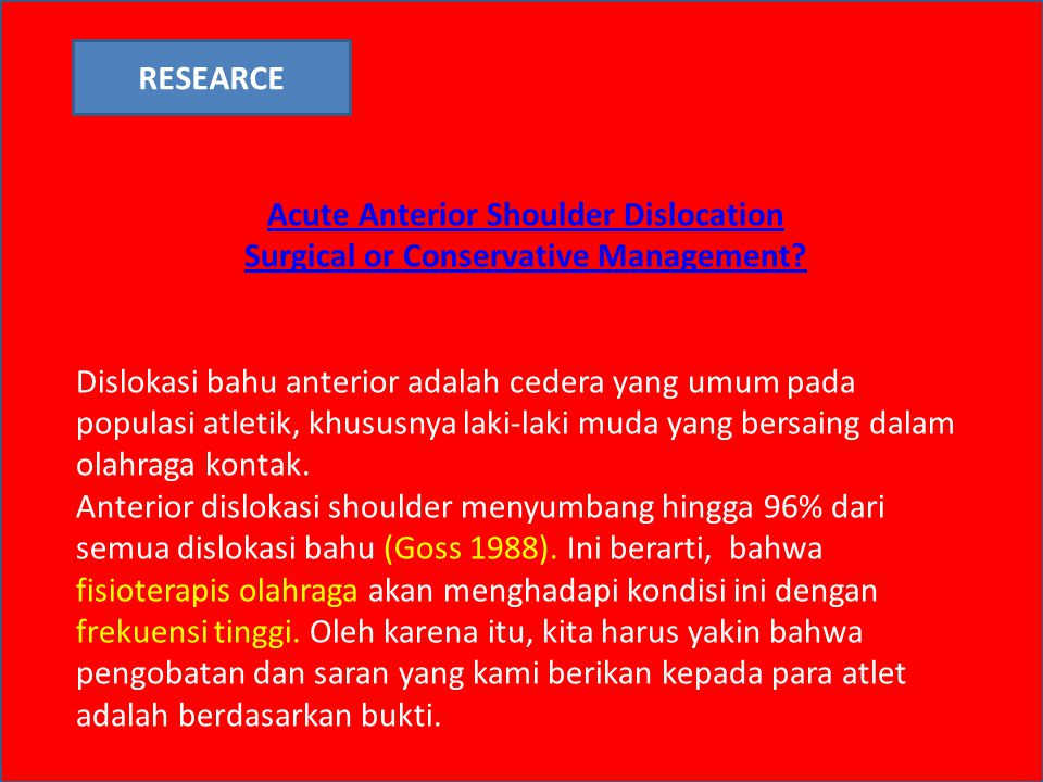 Acute Anterior Shoulder Dislocation