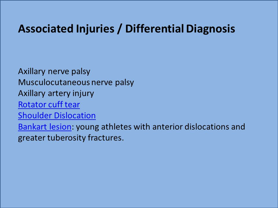 Associated Injuries / Differential Diagnosis