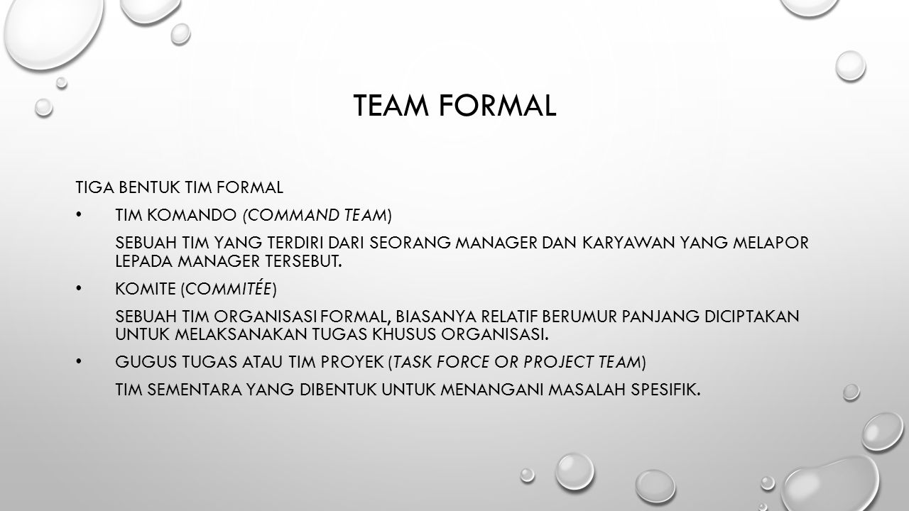 Team formal Tiga Bentuk Tim Formal Tim Komando (command team)