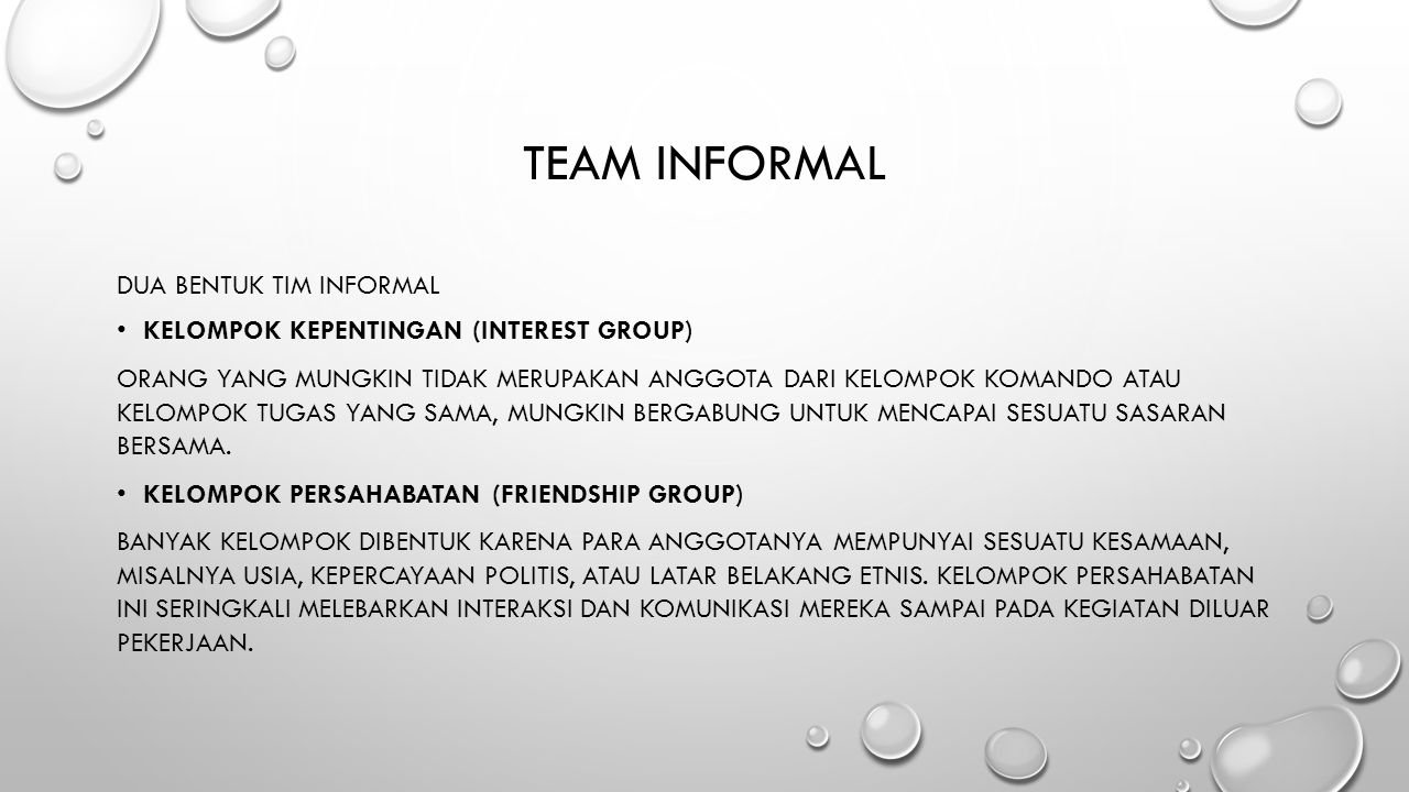 Team informal dua Bentuk Tim inFormal