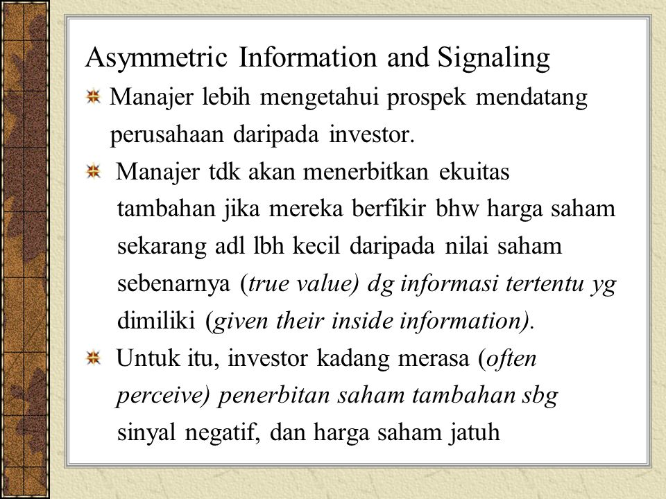Asymmetric Information and Signaling