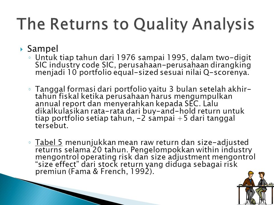 The Returns to Quality Analysis