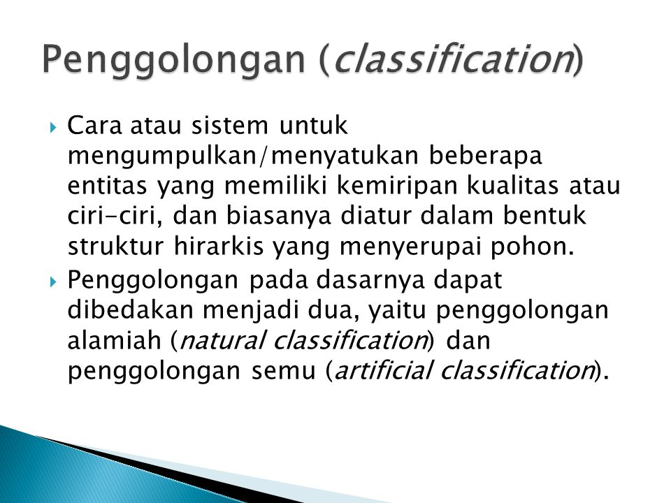 Penggolongan (classification)