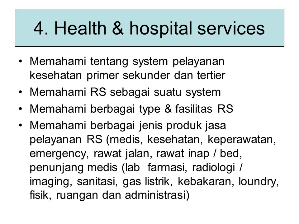 4. Health & hospital services