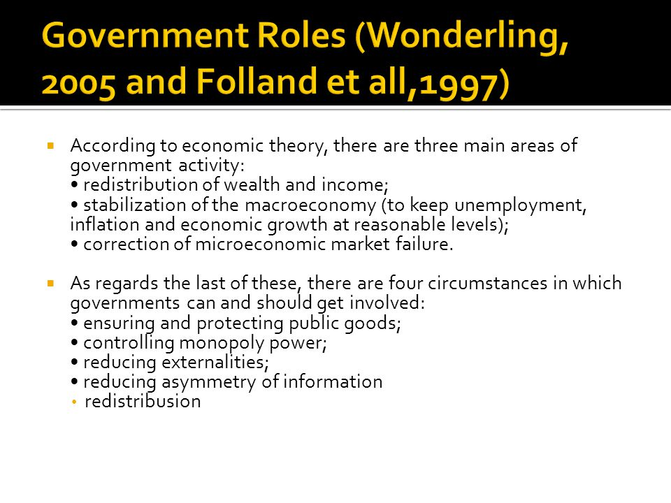 Government Roles (Wonderling, 2005 and Folland et all,1997)