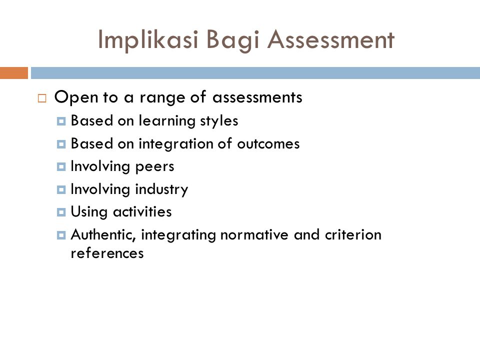 Implikasi Bagi Assessment