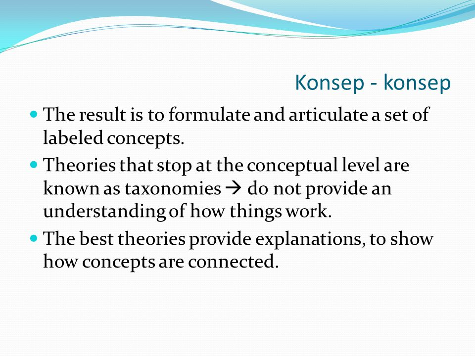 Konsep - konsep The result is to formulate and articulate a set of labeled concepts.