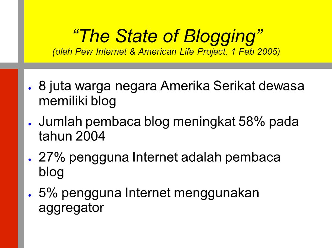 The State of Blogging (oleh Pew Internet & American Life Project, 1 Feb 2005)