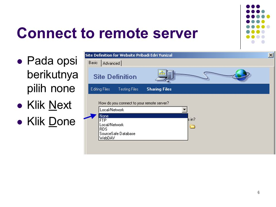 Connect to remote server
