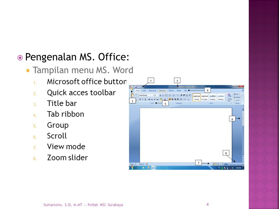 Pengenalan MS. Office: Tampilan menu MS. Word Microsoft office button