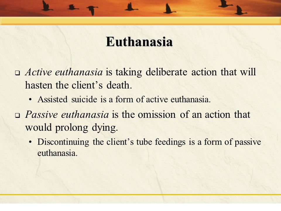 Euthanasia Active euthanasia is taking deliberate action that will hasten the client's death. Assisted suicide is a form of active euthanasia.