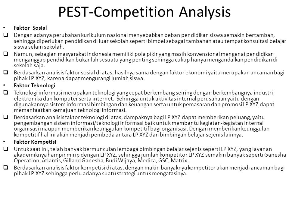 PEST-Competition Analysis