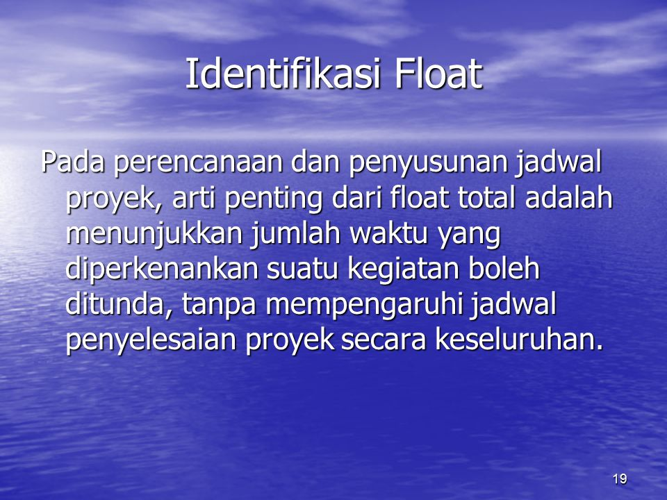 Identifikasi Float