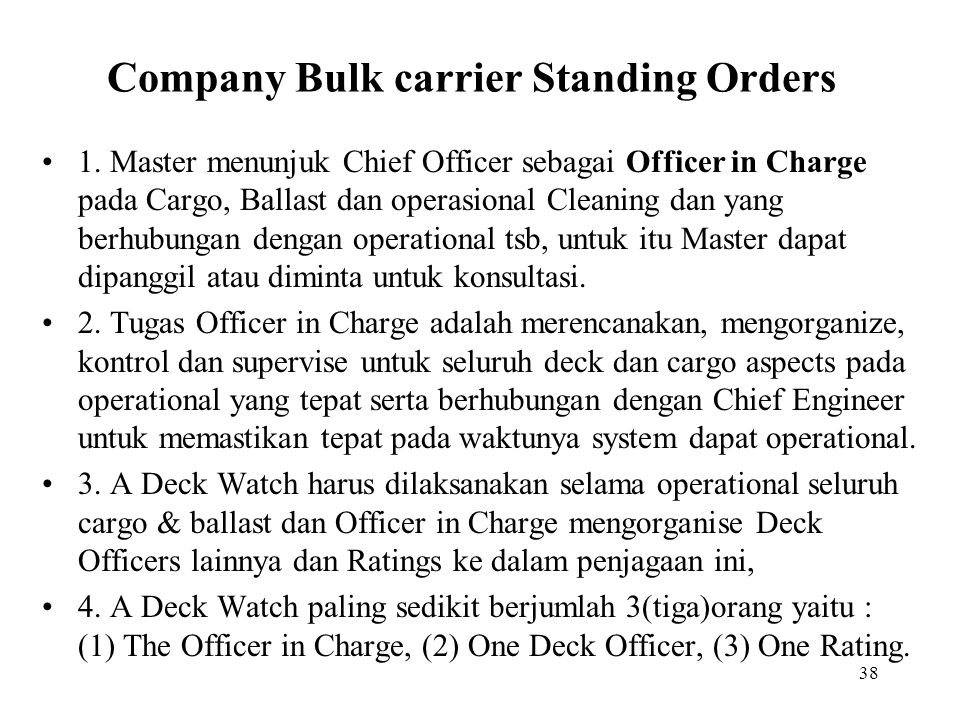 Company Bulk carrier Standing Orders