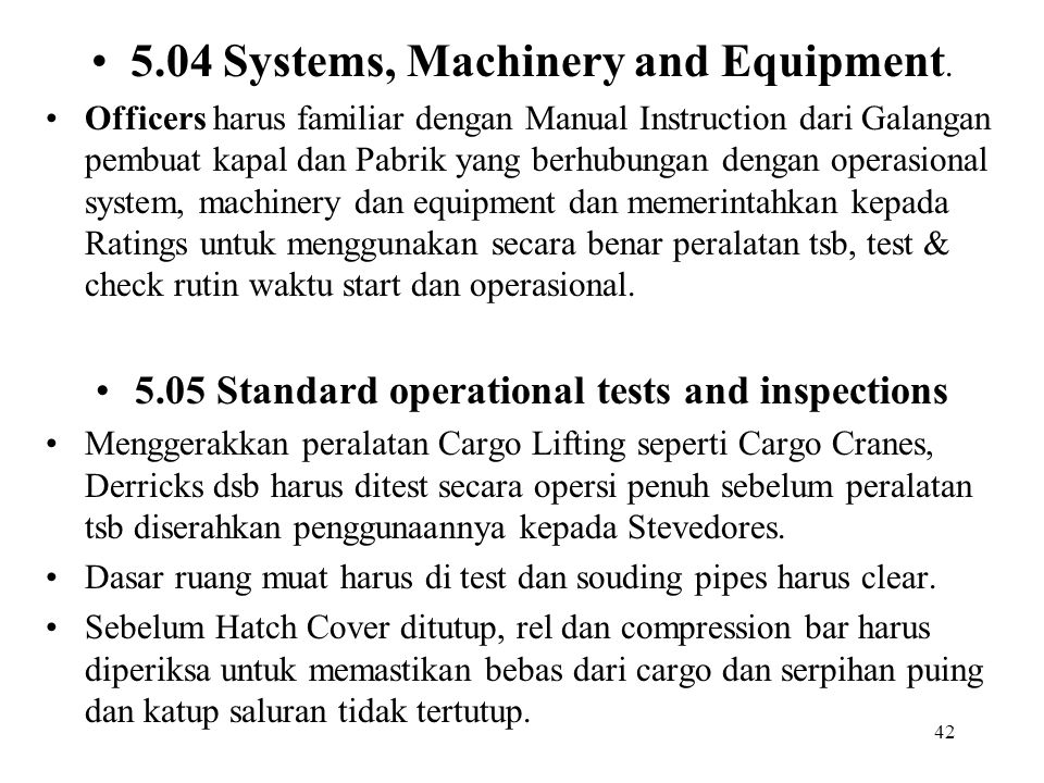 5.05 Standard operational tests and inspections