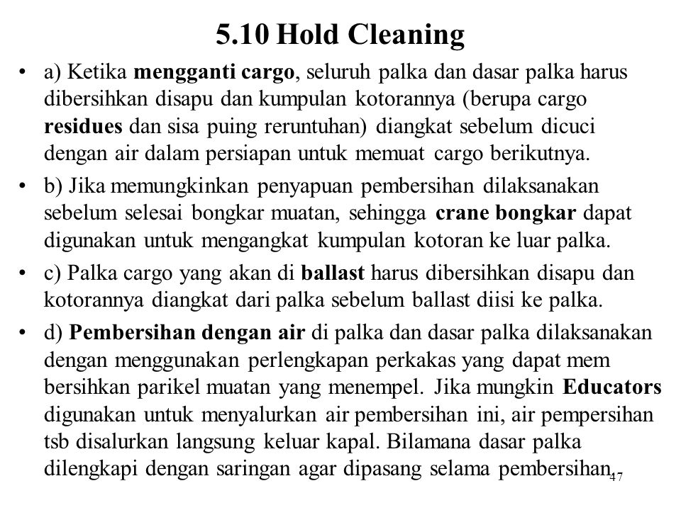 5.10 Hold Cleaning