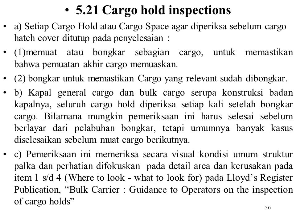 5.21 Cargo hold inspections